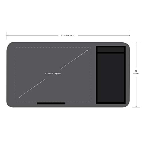 LapGear Home Office Lap Desk Extra Wide - Silver Carbon (Fits up to 17