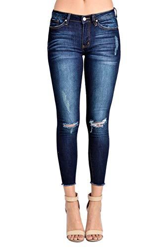 (KanCan Women's Mid Rise Destroyed Skinny Jeans 11 Dark Wash KC6003D)