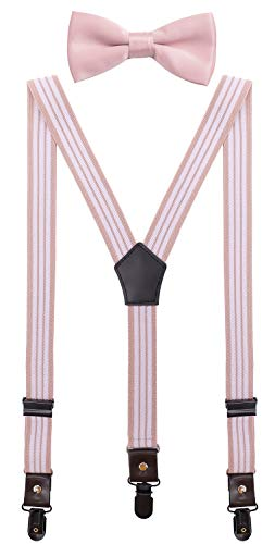 CEAJOO Young Men Suspenders and Bow Tie Set Adjustable with Black Metal Clips 47
