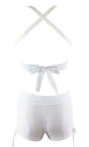 Zando Push Up Two Pieces Bikini With Boyshort Athletic V Neck Swimsuit Vintage Halter Back Swimwear Bathsuit For Women