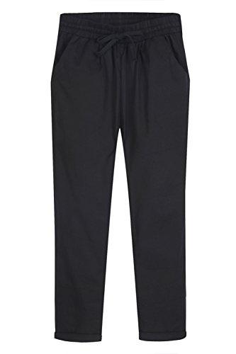 sandbank Women's Casual Drawstring Elastic Waist Cargo Capri Pants Trousers