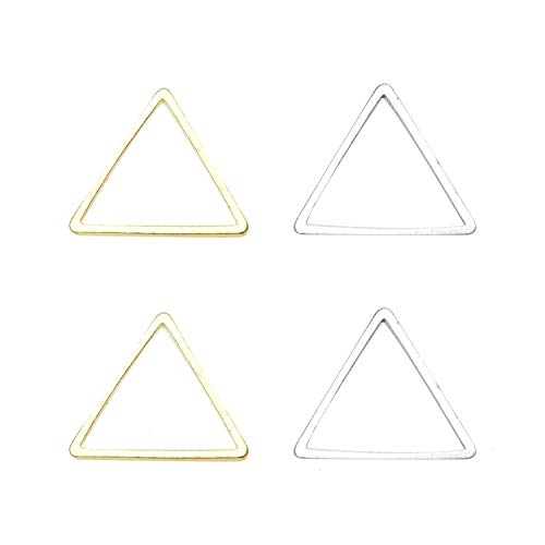 Monrocco 100Pcs 2 Colors Alloy Triangle Pendant Connector DIY Necklace Bracelet Charms for Jewelry Making and -