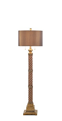 Catalina Lighting 19923-000 Marietta 2-Light 62-Inch Faceted Burnished Bronze Floor Lamp with Coffee Silken Shade