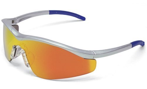 MCR Safety T114R Triwear T1 Hybrid Temple Design Safety Glasses with Steel Frame and Fire Mirror Lens by MCR Safety