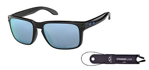 Oakley Holbrook OO9102 9102C1 57M Polished Black/Prizm Deep H2O Polarized Sunglasses For Men For Women+ BUNDLE with Oakley Accessory Leash ()
