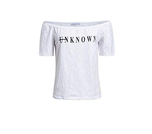 Ubiquity-Shop Sexy Off Shoulder Letter t Shirt Women Beach Short Sleeve White Black tee Shirt,Big Letter White,L