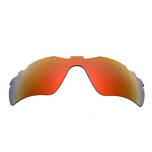 Hkuco Mens Replacement Lenses For Oakley RadarLock-Edge Red/Titanium/Emerald Green Sunglasses