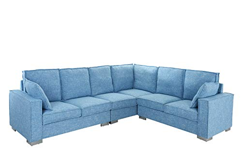 Large Living Room Fabric Sectional Sofa, L-Shape Couch (Light Blue) (Sectional Sofa Affordable)