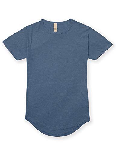 Men's Hipster Longline Drop Cut T-Shirts XL Heather Shale Blue - Urban Shirt Blue
