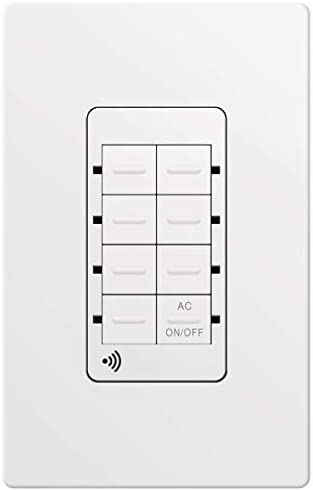 TOPGREENER Smart Light Switch Wi-Fi Scene Controller, 8-Button Programmable Home Automation, Neutral Wire Required, 2.4GHz Network, UL Listed, FCC Compliant, TGWFSC8, White
