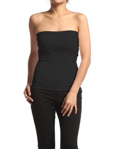 Plain Stretch Seamless Strapless Layering Tube Top One Size Fits All Black