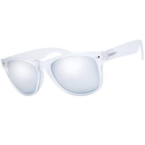 The Fresh Matte Frosted Frame Reflective Colored Mirror Lens Horn Rimmed Sunglasses with Gift Box (4-Frost, Silver -