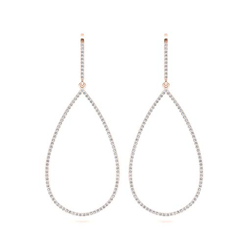 ASHNE JEWELS IGI Certified 0.76 Carat Round-Shape Natural Diamond (G-H Color, I1-I2 Clarity) 14K Rose Gold Drop and Dangle Earrings For Women