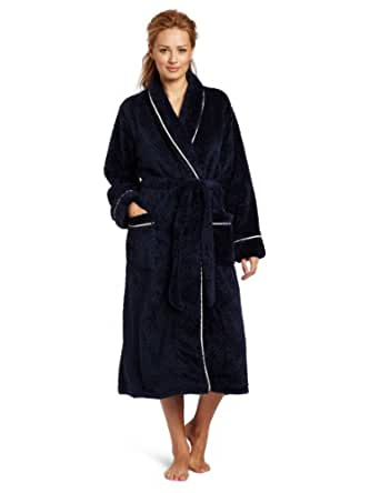 Nautica Sleepwear Women's Pineapple Plush Robe, Maritime Blue, Small