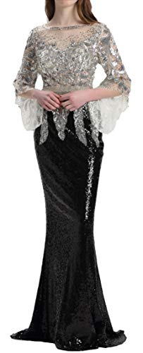 Meier Women's Two Tone Sequin Prom Formal Gown with Bell Sleeves (Silver/Black, 6)