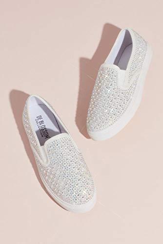 - David's Bridal Crystal-Studded Slip-On Sneakers Style Cruz, White, 7.5