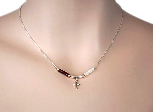 Sterling Silver Cross Pendant Gemstone Bar Necklace Red Garnet and Rainbow Moonstone Silver Chain 15
