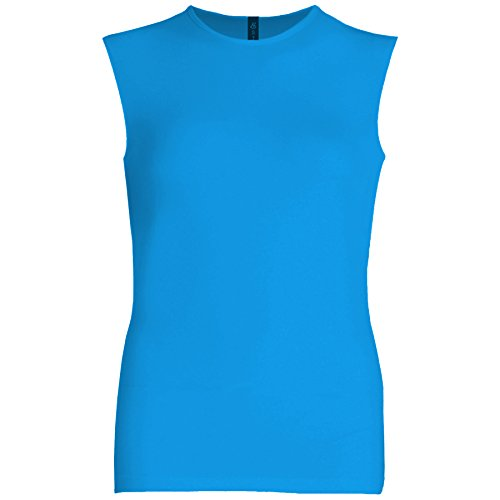 Esteez Womens Sleeveless Fitted Base Layering T-Shirt Ocean Blue (Crew Sleeveless)