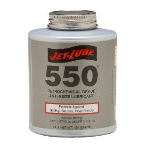 Jet-Lube 550 Nonmetallic Petrochemical Grade Anti Seize and Thread Lubricant, 1 lbs Brush Top Can ()