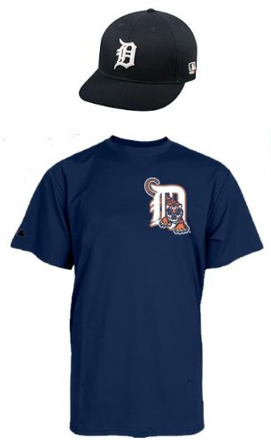 (Majestic Athletic Detroit Tigers Youth MLB Cap & Jersey (Official Major League Baseball Replica Hat and 100% Cotton Crewneck T-Shirt Uniform) (Youth Cap/Medium Jersey))