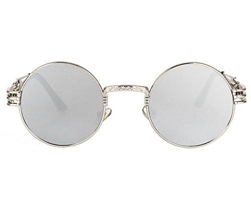 Vintage Lunettes Sunglasses Lens métal Rondes en Steampunk soleil Lunettes Hommes de Women Silver de Retro Lunettes protection Frame Silver qqP14Wgn