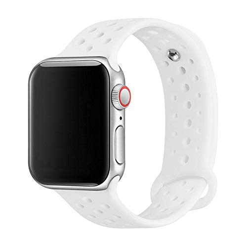 (Sporty Band Compatible with Apple Watch 38mm 40mm 42mm 44mm, Soft Silicone Sporty Replacement Wrist Strap Band for iWatch Series 4/3/2/1 (42MM/44MM Black/White SP1))