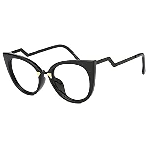 Slocyclub Women's Super Trendy Fashion Zigzag Temple Cat Eye Clear Lens Eyeglasses
