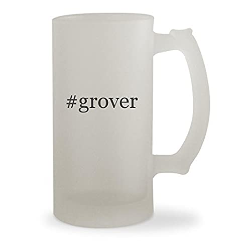 #grover - 16oz Hashtag Sturdy Glass Frosted Beer Stein (Tag Junior Books Thomas)