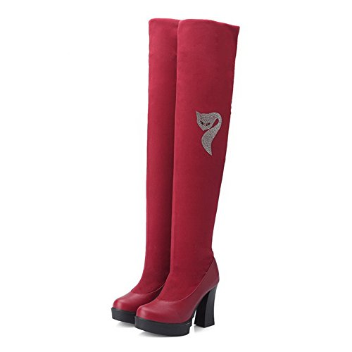AllhqFashion Damen Hoher Absatz Rund Zehe Blend-Materialien Ziehen auf Stiefel, Schwarz, 36