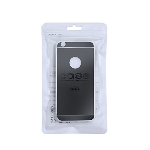 COOSA TPU flexible chapado en oro parachoques suave cubierta de la caja de la piel transparente para iPhone (IPHONE 6 PLUSS PLUS, negro) Negro