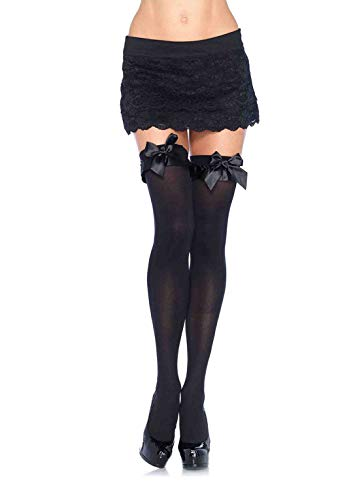 Leg Avenue Women's Trim and Bow Thigh Highs, Black Satin Ruffle, One Size