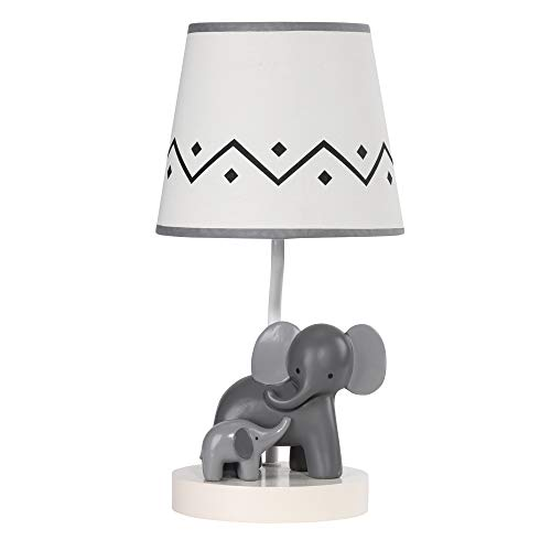 Lambs & Ivy Me & Mama White/Gray Elephant Nursery Lamp with Shade & Bulb from Lambs & Ivy