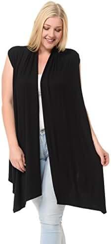 Pastel by Vivienne Women's Asymmetric Open Front Vest Plus