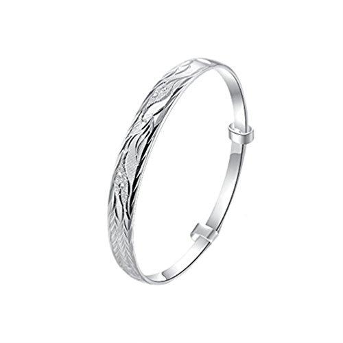 Silver Surfer Costume Australia (Sterling Silver Plated Phoenix Carved Charm Bangle Bracelet Wedding Gift Diamond Cut Adjustable)