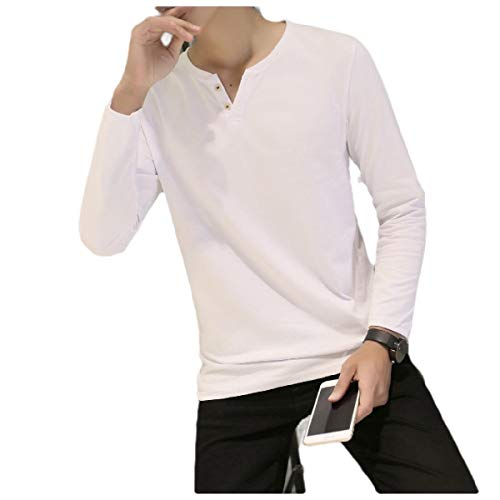 - Coolred-Men Button Down Long Sleeve Slim Tee Solid Colored T Shirt Tops 5 L
