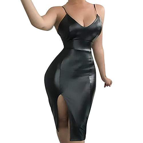 Women's Sexy Faux Leather Strappy Vest Bodycon Pencil Party Mini Dress Hot Club Party Lingerie Dress (Black B, L)
