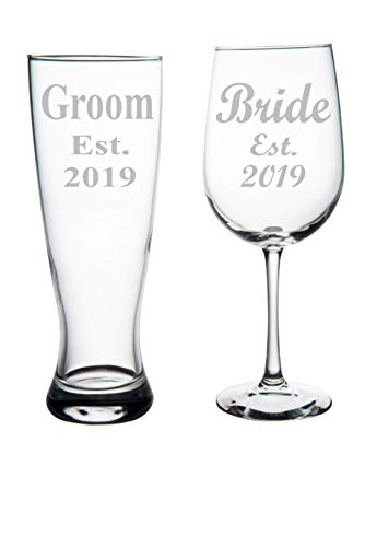 Groom Est. 2019 Pilsner Beer Glass, 23oz. and Bride Est. 2019 Wine Glass, 19oz. (set of 2)