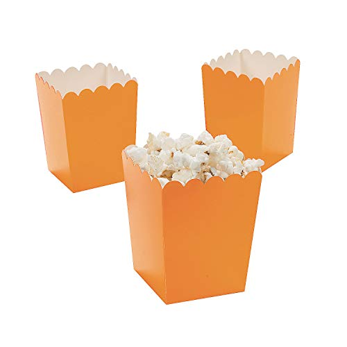 Fun Express Mini Popcorn Boxes - Orange (24 Pack) - Teacher Resources & Birthday Supplies -