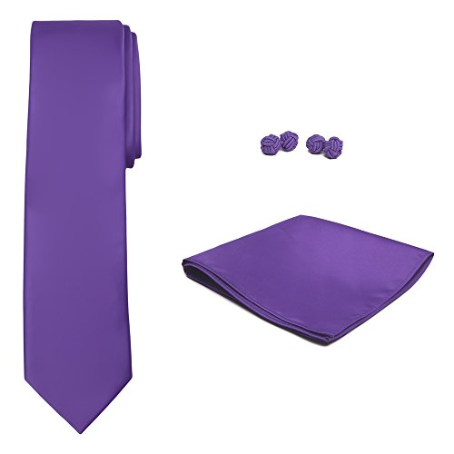 Jacob Alexander Solid Color Men's Tie Hanky and Cufflink Set (Violet Solid Tie)