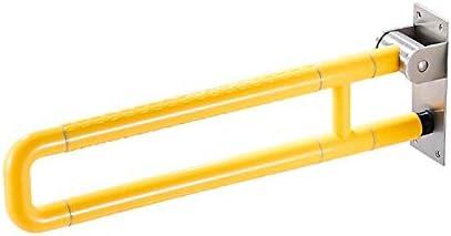 HJXSXHZ366 Ältere Patienten Hilfshandlauf Badezimmer Geländer Faltbare rutschfeste Sicherheits WC Geländer Behindertengerechte Toilette Griff weiß 60cm (Color : Yellow)