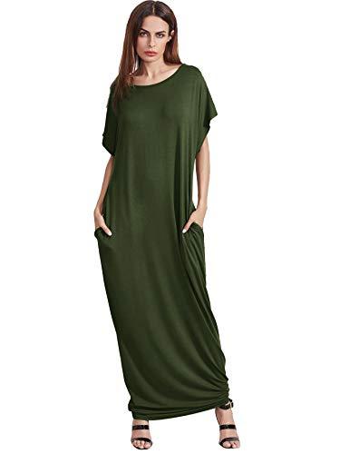 Verdusa Women's Short Sleeve Casual Loose Long Maxi Dress with Pockets Army Green XXXL (Short Full Sleeve T-shirt)