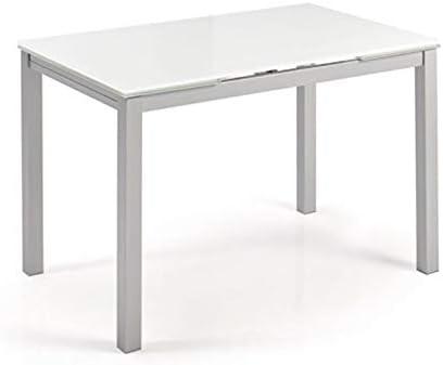 fanmuebles - Mesa Cocina Cristal Extensible Katy - Cristal Blanco Optico, 100 x 60 cm.