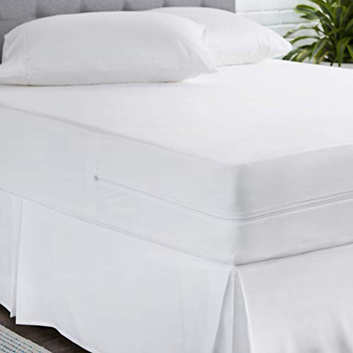 AmazonBasics Fully-Encased Waterproof Mattress Cover Protector, Queen, Low Profile 9 to 12-Inch Depth