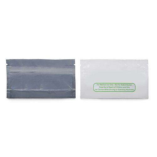 Mylar Smell Proof Bags - 1 Pre Roll Clear Side/White - Loud Lock - Medical Use Only - All States General Compliance Printed - 1000 Count (PreRoll - 3