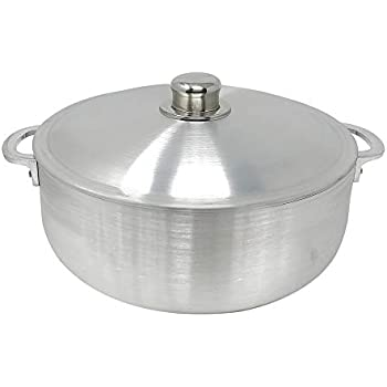 KITCHEN SENSE TRADITIONAL COLUMBIAN CAST ALUMINUM RICE POT CALDERO BY AMERICAN DREAM SILVER STOCK POTS WITH ALUMINUM LID -HEAVY GAUGE CALDERO DE ARROZ DUTCH OVEN (6.9 Quarts)