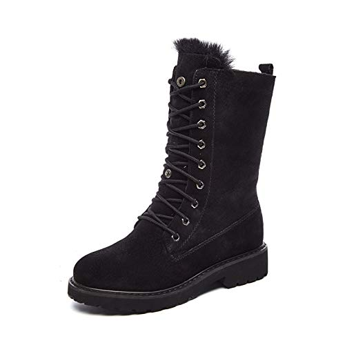 HOESCZS Stiefel Martin Schnee Stiefel Dicke Winter Leder Brot Schuhe Damen Warme Baumwolle Schuhe Plus Baumwolle Flache Schuhe