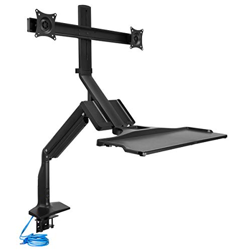 Mount-It! Dual Monitor Sit Stand Workstation with Gas Spring Arm   Height Adjustable Standing Desk Converter   2…