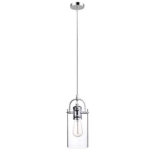 - Globe Electric James 1-Light Plug-in or Hardwire Pendant, Chrome Finish, Clear Glass Shade, 15ft Clear Cord, in-Line On/Off Rocker Switch, 65714