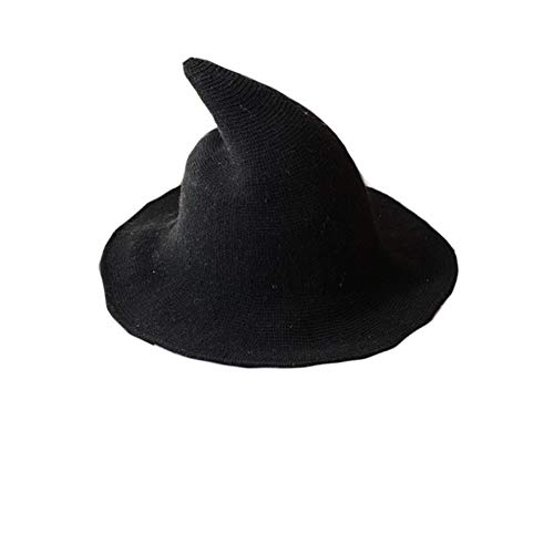 Dragon Honor Modern Halloween Witch Hat Women Wool Wide-Brimmed Hat Cap (Black) -