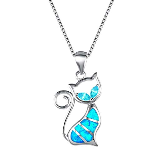 Sterling Silver Cat Pendant Necklace with Birthstone Crystal,Cute Jewelry Gifts for Cat Lovers Valentine's Day Birthday
